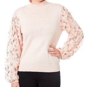 Joseph A Women's Blush Sequin Mixed Media Sweater